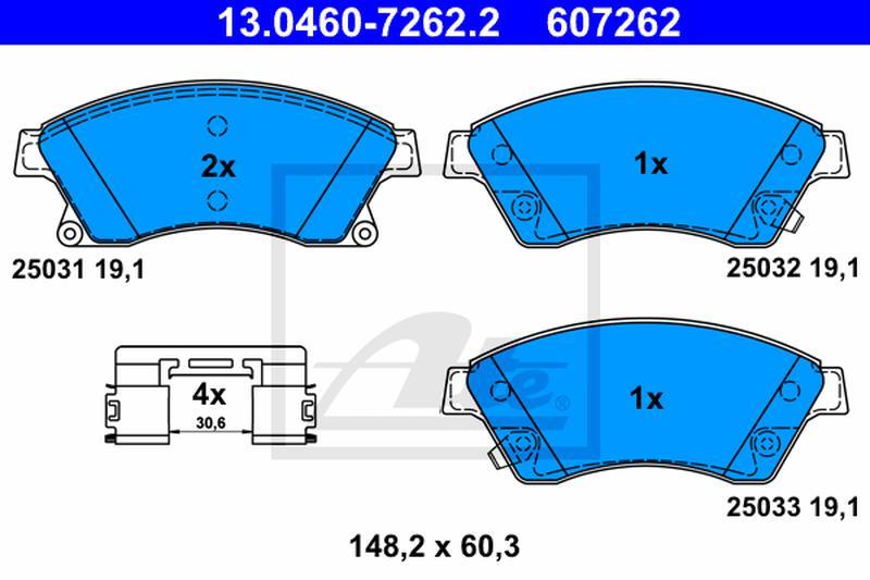 Scheibenbremse ATE 13.0460-7263.2 Bremsbelagsatz