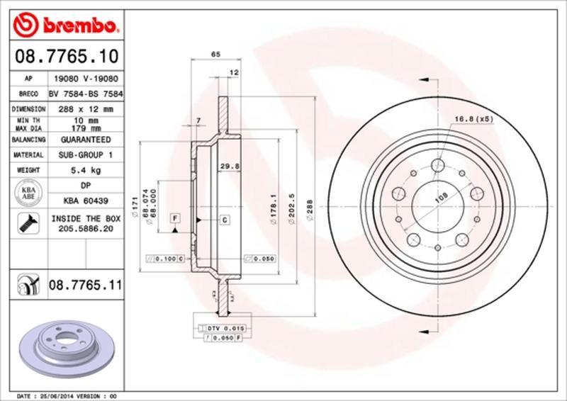 1 Stück COATED DISC LINE BREMBO 09.8633.11 Bremsscheibe