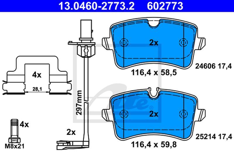 ATE Ceramic Bremsbelagsatz Scheibenbremse 13.0470-2773.2 für AUDI