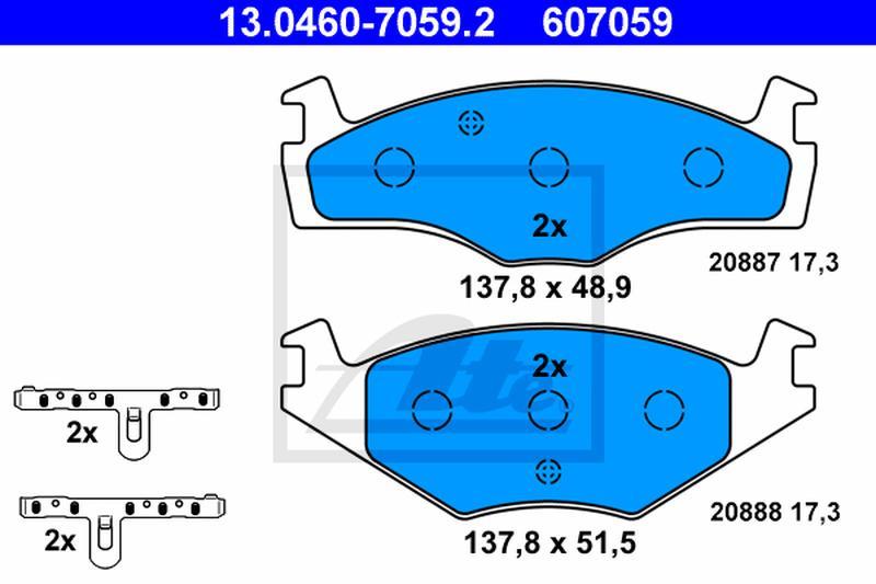 ATE Bremsbelagsatz Scheibenbremse 13.0460-7101.2 für VW SEAT