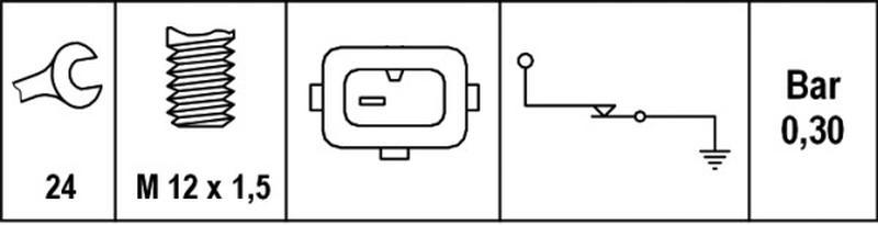 HELLA 6ZL 006 097-001 Öldruckschalter Gewindemaß M12x1,5 0,2 bis 0,5 bar